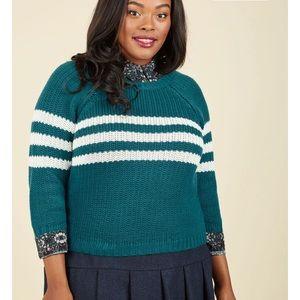 ModCloth raglan 3/4 sleeve preppy cotton sweater